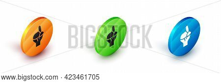 Isometric Hands In Praying Position Icon Isolated On White Background. Praying Hand Islam Muslim Rel