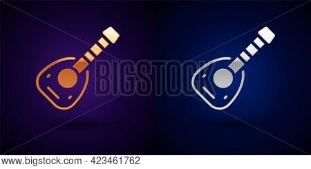 Gold And Silver Musical Instrument Lute Icon Isolated On Black Background. Arabic, Oriental, Greek M