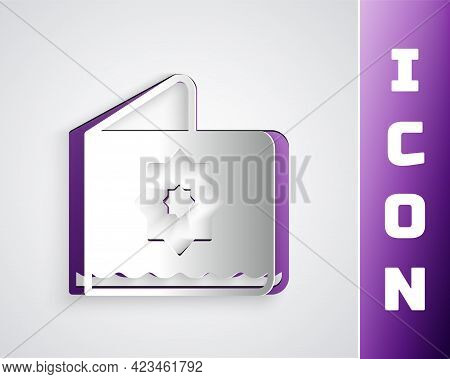 Paper Cut Islamic Octagonal Star Ornament Icon Isolated On Grey Background. Paper Art Style. Vector