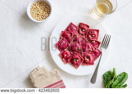 Beet Ravioli With Ricotta Cheese, Spinach And Nuts. Healthy Eating. Vegetarian Food. Italian Cuisine