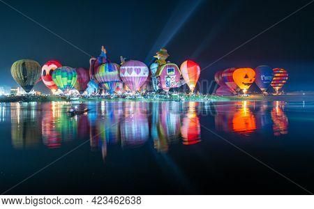 Chiang Rai, Thailand : February-13-2019 : Balloons Magic Night Glow Show In Singha Park Chiang Rai I