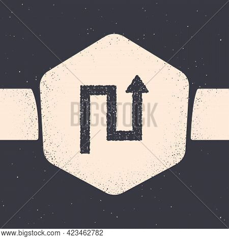 Grunge Arrow Icon Isolated On Grey Background. Direction Arrowhead Symbol. Navigation Pointer Sign.