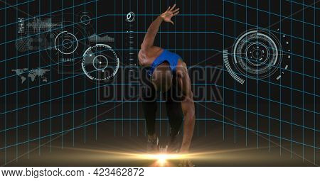 Spot of light over male athlete running against digital interface with data processing. sports, fitness and technology concept