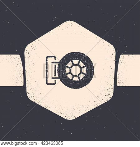 Grunge Front Facade Building Jewelry Store Icon Isolated On Grey Background. Monochrome Vintage Draw