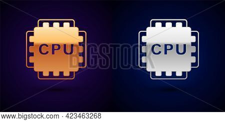 Gold And Silver Computer Processor With Microcircuits Cpu Icon Isolated On Black Background. Chip Or