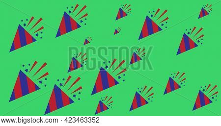 Digitally generated image of party poppers against green background. american independence day celebration template concept