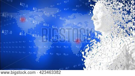 Composition of exploding human bust formed with particles over world map. global connections, technology and digital interface concept digitally generated image.