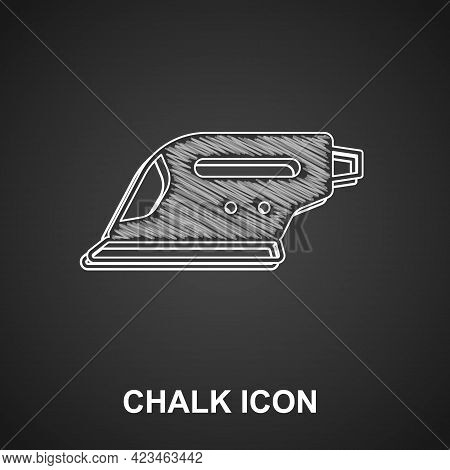 Chalk Electric Iron Icon Isolated On Black Background. Steam Iron. Vector