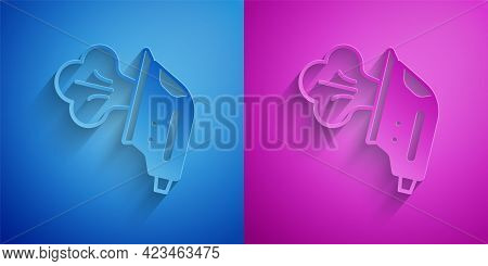 Paper Cut Electric Iron Icon Isolated On Blue And Purple Background. Steam Iron. Paper Art Style. Ve