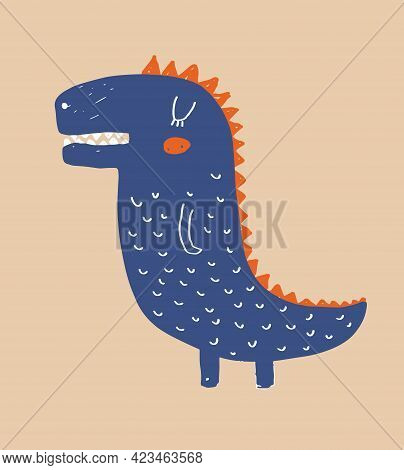 Cute Simple Vector Illustration With Blue Alligator Isolated On A Light Dusty Brown Background. Simp