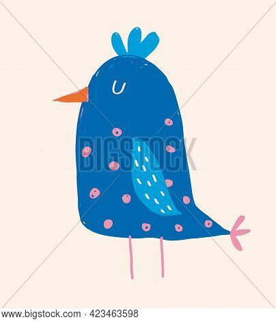 Cute Hand Drawn Vector Illustration With Funny Big Bird. Lovely Nursery Art With Blue Chicken On A L
