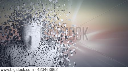 Composition of exploding human bust formed with particles over glowing light trails. global connections, technology and digital interface concept digitally generated image.