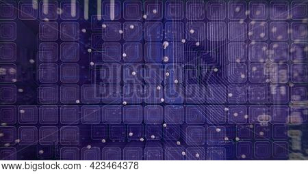 Composition of network of screens over computer processor circuit board server. global connections, technology and digital interface concept digitally generated image.
