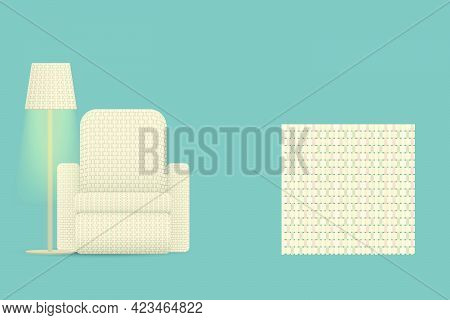 Sofa Woven With Colorful Threads And A Floor Lamp With A Weave Pattern Vector Illustration Pattern O