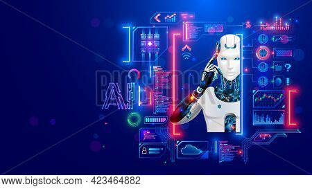 Ai. Artificial Intelligence. Robot Or Cyborg Looking At Virtual Hud Interface. Machine Learning Conc