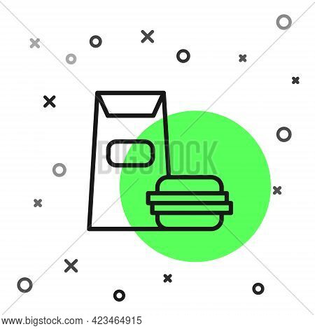 Black Line Burger Icon Isolated On White Background. Hamburger Icon. Cheeseburger Sandwich Sign. Fas