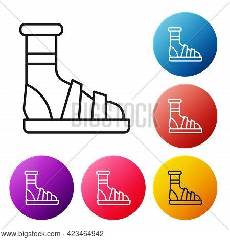 Black Line Slippers With Socks Icon Isolated On White Background. Beach Slippers Sign. Flip Flops. S