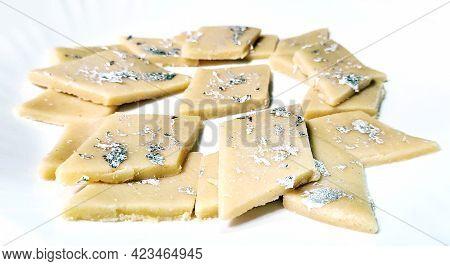 Kaju Katli Is A Diamond Shape Indian Sweet Made Using Cashew Sugar And Mava, Served In A Plate Isola