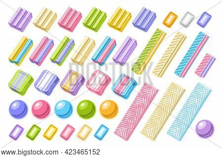 Vector Set Of Bubble Gums, Collection Of Cut Out Illustrations Of Assorted Bubblegums, Set Of Circle