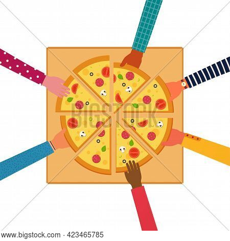 People Eating Together A Huge Pizza, Top View. Pizza With Tomatoes, Cheese, Mushrooms, Olives, Sausa