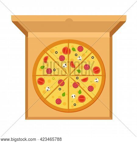 Large Pizza With Tomatoes, Cheese, Mushrooms, Olives, Sausage, Basil In Open Cardboard Box On White