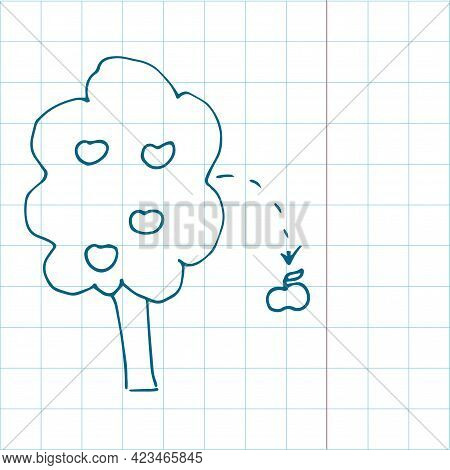 Falling Apple Theory Icon On Copy Book Sheet Concept Drawing In Modern Style. One Stroke Style Simpl