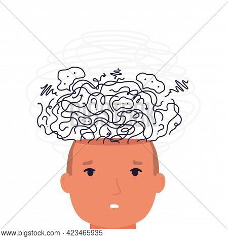 Man With Mental Disorder In Confusion Thoughts. Concept  Anxiety In Head, Depression And Search Answ