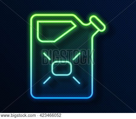 Glowing Neon Line Canister For Flammable Liquids Icon Isolated On Blue Background. Oil Or Biofuel, E