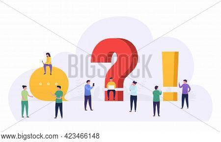 People Standing Near A Question And Exclamation Mark Ask  Questions, Looking Answers Around Big Ques