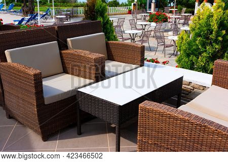 Outdoor Coffee Tables And Chairs In Halkidiki, Greece.