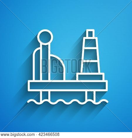 White Line Oil Platform In The Sea Icon Isolated On Blue Background. Drilling Rig At Sea. Oil Platfo