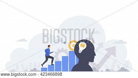 Business Concept Of Goal Achievement, Professional Development, Career Building And Capital Gains. B
