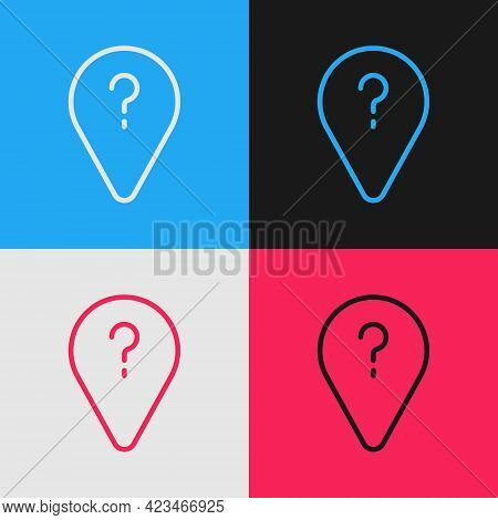 Pop Art Line Unknown Route Point Icon Isolated On Color Background. Navigation, Pointer, Location, M