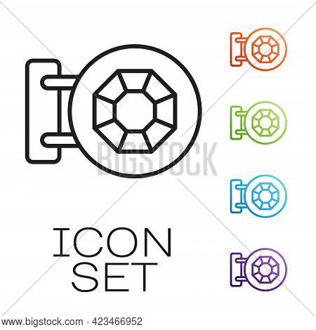 Black Line Front Facade Building Jewelry Store Icon Isolated On White Background. Set Icons Colorful