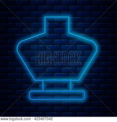 Glowing Neon Line Necklace On Mannequin Icon Isolated On Brick Wall Background. Jewelry Bust. Dummy