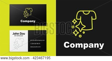 Logotype Line Drying Clothes Icon Isolated On Black Background. Clean Shirt. Wash Clothes On A Rope