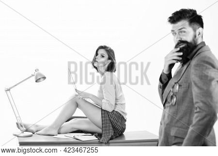 Sexy Lady Worker Attractive Legs Sit On Table. Ready For Inspection. Boss Excited About Sexy Secreta
