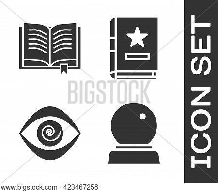Set Magic Ball, Ancient Magic Book, Hypnosis And Ancient Magic Book Icon. Vector
