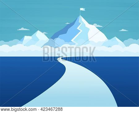 Business Path To Success To The Top. Concept Achieving Goals, Route Climbing Top Mountain. Mountain