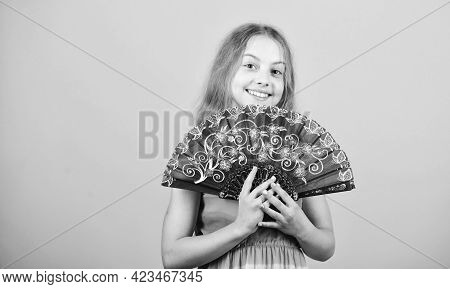 Hot Summer. Small Girl Child Use Fan. Small Girl With Lace Black Fan. Fashion Accessory. Elegant Lit