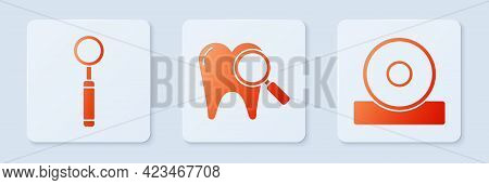 Set Dental Search, Dental Inspection Mirror And Otolaryngological Head Reflector. White Square Butto