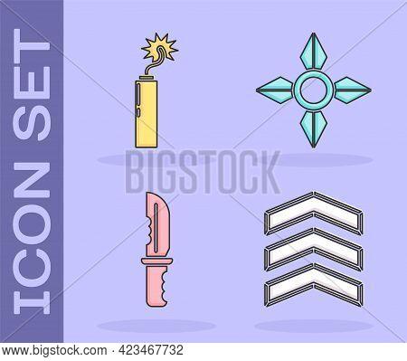 Set Military Rank, Dynamite Bomb Stick Clock, Military Knife And Japanese Ninja Shuriken Icon. Vecto