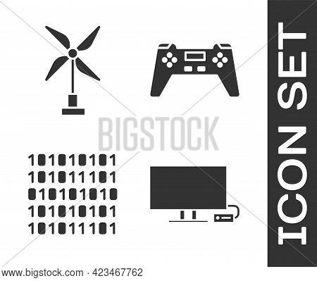 Set Smart Tv, Wind Turbine, Binary Code And Gamepad Icon. Vector