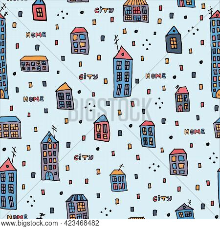Seamless Pattern Doodle. Hand-drawn Multicolor City Home. Colorful Vector Illustration. Black Outlin
