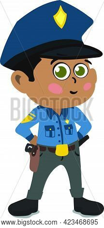 A Cute And Adorable Child Character In Cartoon Style. Kindergarten Preschool Kid Dressed As Professi