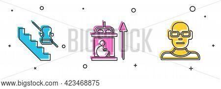 Set Disabled Elevator, Elevator For Disabled And Poor Eyesight Icon. Vector