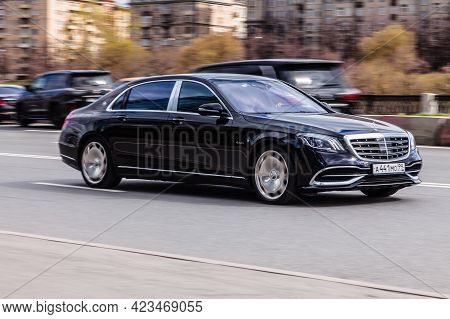 Moscow , Russia - April 2021: Mercedes-benz Maybach S-class In The City Street. Black Premium Merced