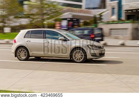 Moscow, Russia - May, 2021: Volkswagen Golf Mk7 Five Door Hatchback Is Driving At High Speed