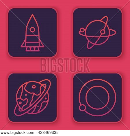 Set Line Rocket Ship, Space Capsule And Parachute, Satellites Orbiting The Planet Earth And Satellit