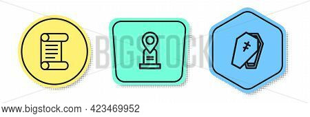 Set Line Decree, Parchment, Scroll, Location Grave And Coffin With Cross. Colored Shapes. Vector